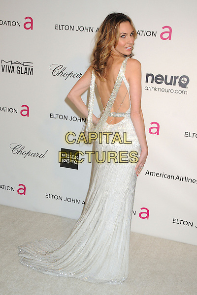 Keltie Colleen.21st Annual Elton John Academy Awards Viewing Party held at West Hollywood Park, West Hollywood, California, USA..February 24th, 2013.oscars full length white sleeveless sparkly dress hand on hip backless looking over shoulder .CAP/ADM/BP.©Byron Purvis/AdMedia/Capital Pictures.