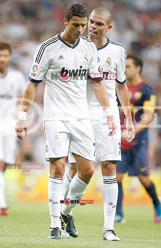 Real Madrid's Cristiano Ronaldo and Pepe during Super Cup match. August 29, 2012. (ALTERPHOTOS/Alvaro Hernandez). NortePhoto.com
