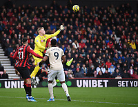 2nd November 2019; Vitality Stadium, Bournemouth, Dorset, England; English Premier League Football, Bournemouth Athletic versus Manchester United; Aaron Ramsdale of Bournemouth punches the ball clear from a corner - Strictly Editorial Use Only. No use with unauthorized audio, video, data, fixture lists, club/league logos or 'live' services. Online in-match use limited to 120 images, no video emulation. No use in betting, games or single club/league/player publications
