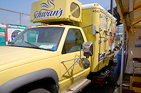 Schwan's refrigerated truck servicing food stands. Special Olympics U of M Bierman Athletic Complex. Minneapolis Minnesota USA