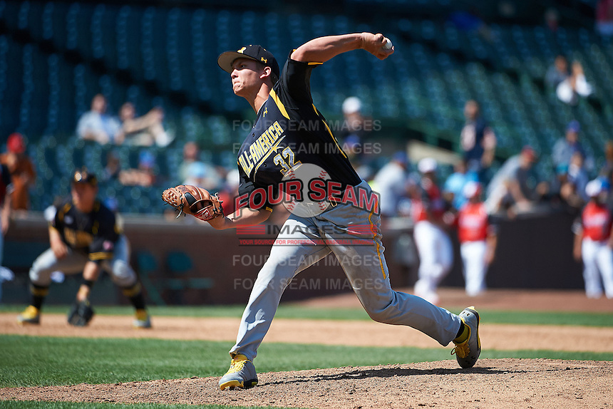 Pitcher Chris Kohler #32 of Los Osos High School in Alta Loma, California participates in the Under Armour All-American Game powered by Baseball Factory at Wrigley Field on August 17, 2012 in Chicago, Illinois.  (Mike Janes/Four Seam Images)