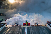 Feb 21, 2020; Chandler, Arizona, USA; Smoke fills the air as a pair of NHRA jet dragster drivers launch off the starting line during qualifying for the Arizona Nationals at Wild Horse Pass Motorsports Park. Mandatory Credit: Mark J. Rebilas-USA TODAY Sports