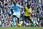 Yaya Toure of Manchester City battles Idrissa Gueye of Aston Villa - Barclay's Premier League - Manchester City vs Aston Villa - Etihad Stadium - Manchester - 05/03/2016 Pic Philip Oldham/SportImage