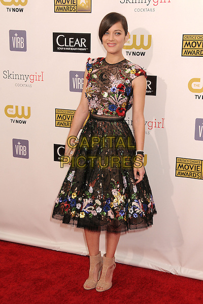 Marion Cotillard.18th Annual Critics' Choice Movie Awards - Arrivals held at Barker Hangar, Santa Monica, California, USA, .10th January 2013 .full length black lace flowers floral red white blue poppy short sleeved tulle nude beige shoes  peep toe dress yellow .CAP/ADM/BP.©Byron Purvis/AdMedia/Capital Pictures.