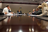 United States President Barack Obama discusses G20 goals and strategy with National Economic Council Director Larry Summers, U.S. Secretary of the Treasury Timothy Geithner, Council of Economic Advisers (CEA) Chair Christy Romer, and others, during a meeting in the Situation Room of the White House, Thursday, May 20, 2010.  .Mandatory Credit: Pete Souza - White House via CNP