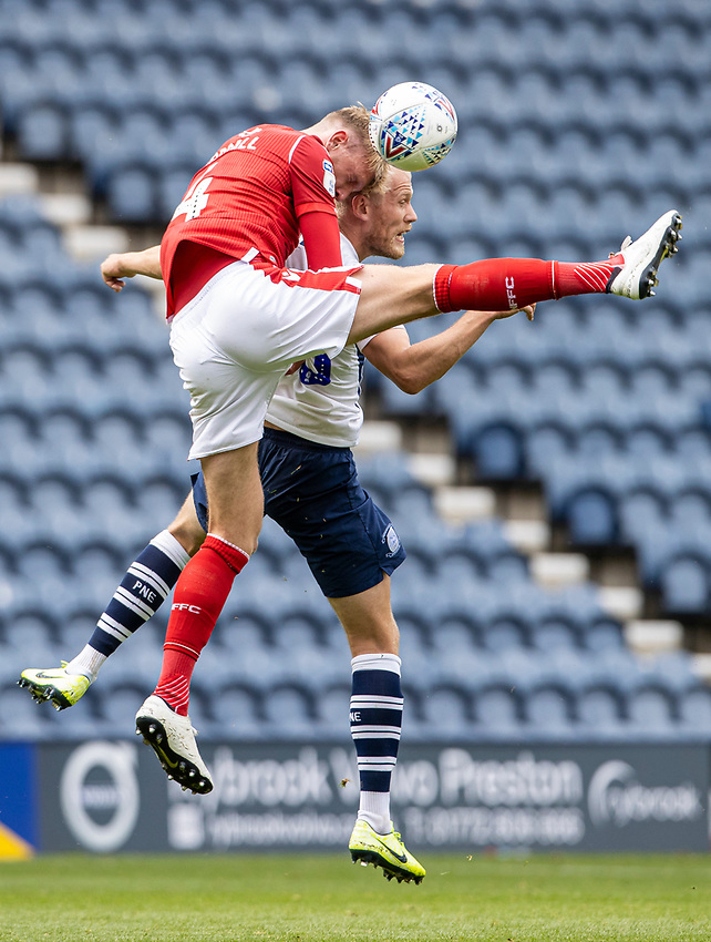 Preston North End's Jayden Stockley competing with Nottingham Forest's Joe Worrall (left) <br /> <br /> Photographer Andrew Kearns/CameraSport<br /> <br /> The EFL Sky Bet Championship - Preston North End v Nottingham Forest - Saturday 11th July 2020 - Deepdale Stadium - Preston <br /> <br /> World Copyright © 2020 CameraSport. All rights reserved. 43 Linden Ave. Countesthorpe. Leicester. England. LE8 5PG - Tel: +44 (0) 116 277 4147 - admin@camerasport.com - www.camerasport.com