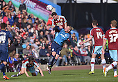 02/05/16 Sky Bet League Championship  Burnley v QPR<br /> Michael Keane heads clear from Sebastian Polter