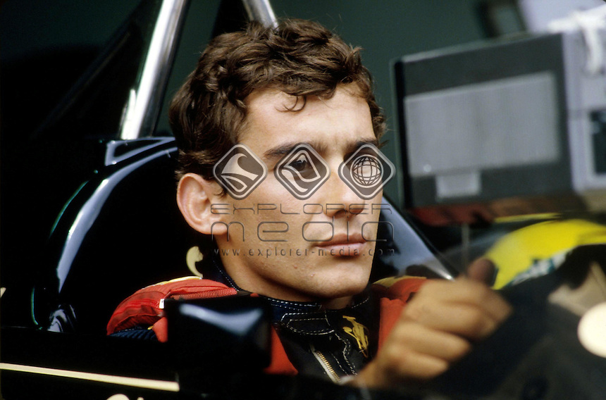 Lotus driver Ayrton Senna behind the wheeler of his car before the Portugese GP<br /> Motorsport - History: Formula One<br /> Portugal April 1985<br /> &copy; Explorer-Media / Australian Sports Archives/Presse Sports