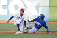 Tulsa Drillers vs NWA Naturals -  Erick Mejia of the Drillers slides under the tag of shortstop Humberto Arteaga of the Naturals at Arvest Ballpark, Springdale, AR, Thursday, July 13, 2017,  © 2017 David Beach
