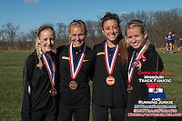 Missouri's four All-Region honorees (left to right) Jamie Kempfer-5th, Teylar Adelsberger-21st, Nicole Mello-20th, Karissa Schweizer-1st, pose for a photo after winning the NCAA Division I Cross Country Midwest Regional in Iowa City, Ia. Friday November 11, 2016. The win was the first victory at the meet for the program since 2003, and qualiifed them for the NCAA Championship meet for the first time since 2004.