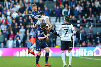 Leeds United's Liam Cooper battles with Derby County's Mason Bennett<br /> <br /> Photographer Alex Dodd/CameraSport<br /> <br /> The EFL Sky Bet Championship Play-off  First Leg - Derby County v Leeds United - Thursday 9th May 2019 - Pride Park - Derby<br /> <br /> World Copyright © 2019 CameraSport. All rights reserved. 43 Linden Ave. Countesthorpe. Leicester. England. LE8 5PG - Tel: +44 (0) 116 277 4147 - admin@camerasport.com - www.camerasport.com