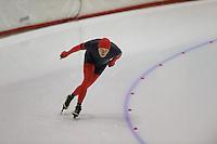 SCHAATSEN: HEERENVEEN: Thialf, 4th Masters International Speed Skating Sprint Games, 25-02-2012, Jan van der Meulen (M65) 2nd, ©foto: Martin de Jong