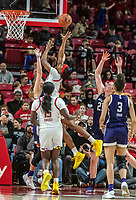 COLLEGE PARK, MD - JANUARY 26: Kaila Charles #5 of Maryland takes a shot during a game between Northwestern and Maryland at Xfinity Center on January 26, 2020 in College Park, Maryland.