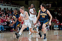 STANFORD, CA-JANUARY 28, 2011: Toni Kokenis makes a break on a pick during a 74-71 overtime win over the Cal Bears.