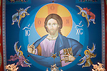 Main Byzantine Pantocrator  of Christ looms over the ceiling created Miloje Milinkovic iconographer inside St. Sava Serbian Orthodox Church, Jackson, Calif.
