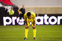 Jairo Arrieta (25) of the Columbus Crew reacts to a missed scoring opportunity. The New York Red Bulls defeated the Columbus Crew 3-1 during a Major League Soccer (MLS) match at Red Bull Arena in Harrison, NJ, on September 15, 2012.