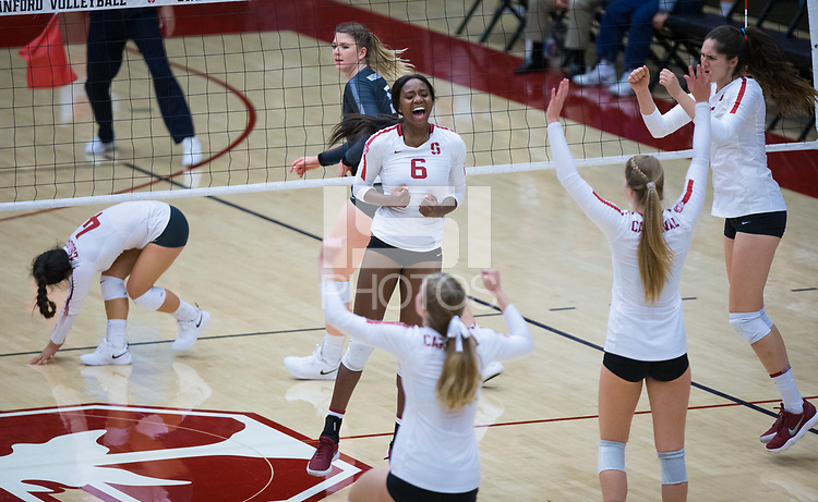 STANFORD, CA - October 12, 2018: Tami Alade, Meghan McClure, Jenna Gray, Audriana Fitzmorris at Maples Pavilion. No. 2 Stanford Cardinal swept No. 21 Washington State Cougars, 25-15, 30-28, 25-12.