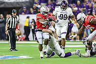 Indianapolis, IN - December 1, 2018: Ohio State Buckeyes running back Mike Weber (5) gets tackled during the Big Ten championship game between Northwestern  and Ohio State at Lucas Oil Stadium in Indianapolis, IN.   (Photo by Elliott Brown/Media Images International)