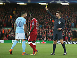 Nicolas Otamendi of Manchester City receives a yellow card during the Champions League Quarter Final 1st Leg, match at Anfield Stadium, Liverpool. Picture date: 4th April 2018. Picture credit should read: Simon Bellis/Sportimage