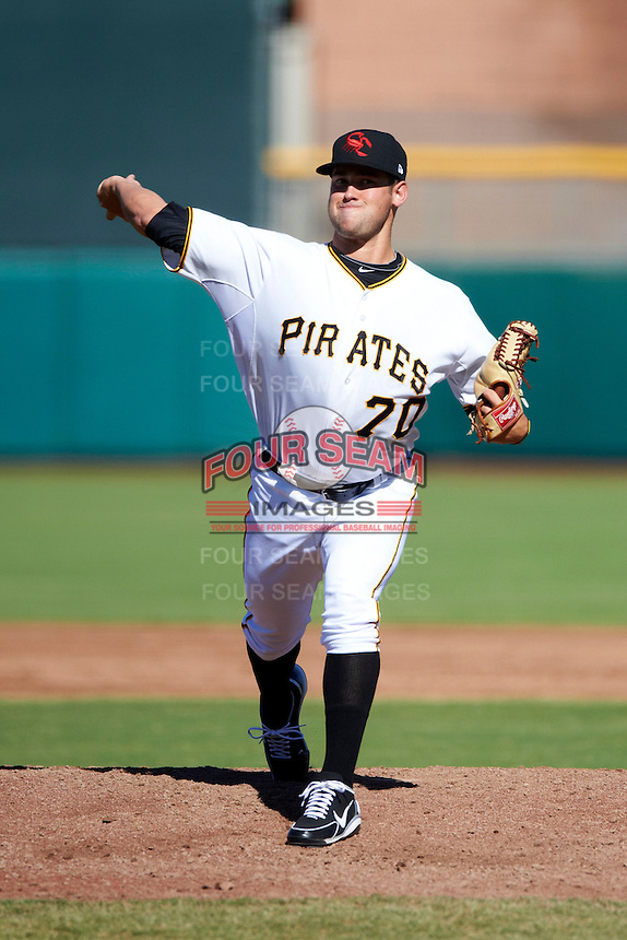 Scottsdale Scorpions pitcher Brandon Cumpton #70, of the Pittsburgh Pirates organization, during an Arizona Fall League game against the Surprise Saguaros at Scottsdale Stadium on October 16, 2012 in Scottsdale, Arizona.  Surprise defeated Scottsdale 11-3.  (Mike Janes/Four Seam Images)