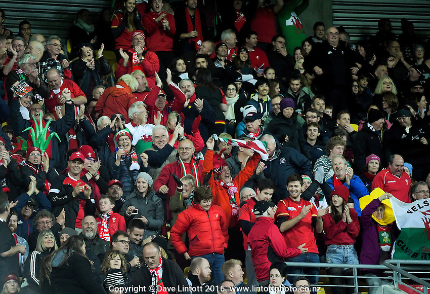 Wales fans celebrate during the Steinlager Series rugby union match between the New Zealand All Blacks and Wales at Westpac Stadium, Wellington, New Zealand on Saturday, 18 June 2016. Photo: Dave Lintott / lintottphoto.co.nz