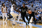 CHAPEL HILL, NC - DECEMBER 03: Tulane's Melvin Frazier (35) and North Carolina's Theo Pinson (left). The University of North Carolina Tar Heels hosted the Tulane University Green Wave on December 3, 2017 at Dean E. Smith Center in Chapel Hill, NC in a Division I men's college basketball game. UNC won the game 97-73.