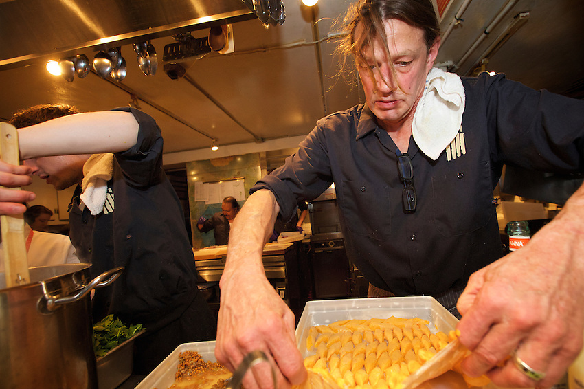 NEW YORK, NY - April 19, 2016: Chef Dan Smith of John Andrews: A Farmhouse Restaurant hosts Beltane in the Berkshires at the James Beard House.<br /> <br /> CREDIT: Clay Williams for the James Beard Foundation.<br /> <br /> &copy; Clay Williams / claywilliamsphoto.com