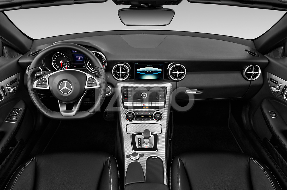 Stock photo of straight dashboard view of a 2019 Mercedes Benz SLC Roadster SLC300 2 Door Convertible