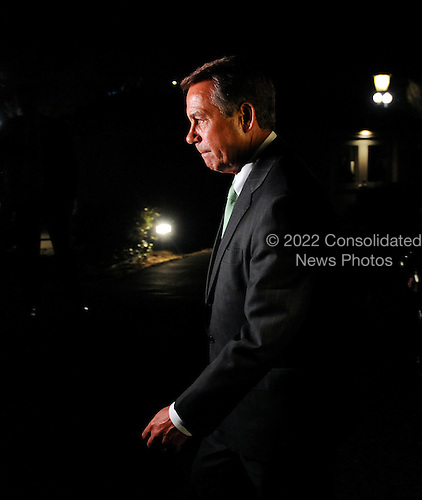 United States House Speaker John Boehner leaves the White House after a meeting with President Barack Obama, Wednesday, April 6, 2011 in Washington, DC. Obama  invited Boehner and Senate Majority Leader Harry Reid for a late meeting Wednesday night to discuss ongoing negotiations on a funding bill to fund the U.S. Government through the end of the fiscal year..Credit: Olivier Douliery / Pool via CNP
