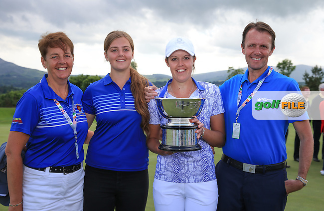 Family MacLaren with victorious Meghan with the 2016 Curtis Cup, played at Dun Laoghaire GC, Enniskerry, Co Wicklow, Ireland. 12/06/2016. Picture: David Lloyd | Golffile. <br /> <br /> All photo usage must display a mandatory copyright credit to &copy; Golffile | David Lloyd.