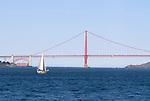 The Golden Gate Bridge as seen from San Francisco Bay in San Francisco, California.