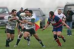 V. Roight & P. Talosaga both try to claim the ball. Counties Manukau Premier Club Rugby, Ardmore Marist vs Manurewa played at Bruce Pulman Park, Papakura on the 10th of June 2006. Ardmore Maris won 18 - 11.