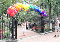 NEW YORK, NY - JUNE 27: Christopher Park in Greenwich Village newly designated as part of the National Parks Service along with Stonewall Inn which received National Monument designation, the first LGBTQ institution to receive national monument status in New York, New York on June 27, 2016.  Photo Credit: Rainmaker Photo/MediaPunch