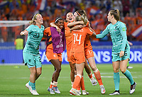 20190703 - LYON , FRANCE : Dutch players with Loes Geurts (23) , Lineth Beerensteyn , Lieke Martens , Jackie Groenen , Ellen Jansen and Lize Kop (r) pictured celebrating after winning during the female soccer game between Netherlands – Oranje Leeuwinnen - and Sweden  , a knock out game in the semi finals of the FIFA Women's  World Championship in France 2019, Wednesday 3 th July 2019 at the Stade de Lyon  Stadium in Lyon  , France .  PHOTO SPORTPIX.BE | DAVID CATRY