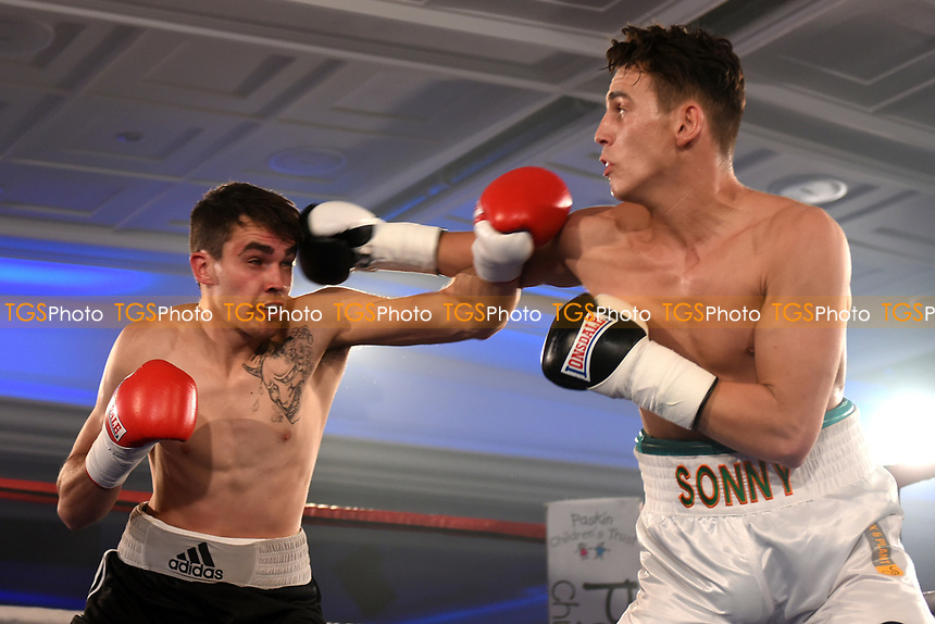 Sonny Lee (white shorts) defeats Callum Ide during a Boxing Show at the Royal Lancaster Hotel on 10th May 2017