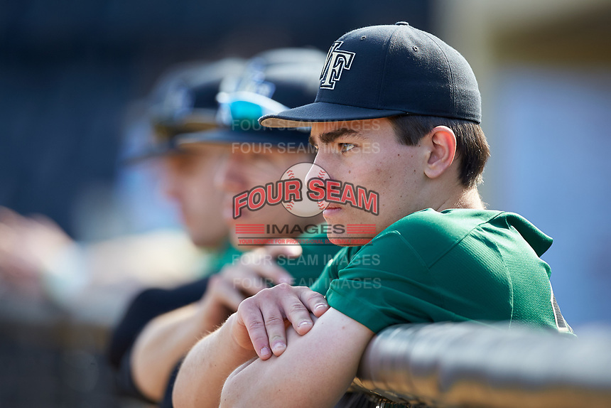 Chase Mascolo (28) of the Wake Forest Demon Deacons prior to the game against the Louisville Cardinals at David F. Couch Ballpark on March 17, 2018 in  Winston-Salem, North Carolina.  The Cardinals defeated the Demon Deacons 11-6.  (Brian Westerholt/Four Seam Images)