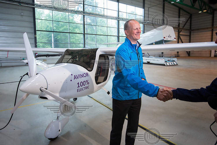 June 18th 2018 saw the first official flight by an electric aircraft in Norway. <br /> <br />   Minister of Transport and Communications Ketil Solvik-Olsen being congratulated. <br /> <br /> The plane is battery operated and signals a focus on more envorinmentally friendly solutions for the fututre. The project is supported by the government, and the project partners are Wider&oslash;e, SAS, the Norwegian Association of Air Sports, and climate foundation ZERO.<br /> <br />  &copy; Fredrik Naumann/Felix Features