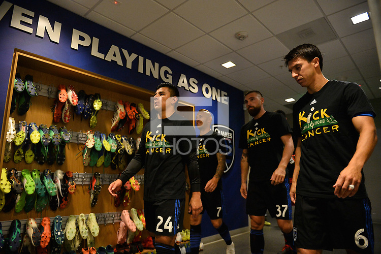 San Jose, CA - Saturday September 15, 2018: Nick Lima, Magnus Eriksson, Guram Kashia, Shea Salinas prior to a Major League Soccer (MLS) match between the San Jose Earthquakes and Sporting Kansas City at Avaya Stadium.