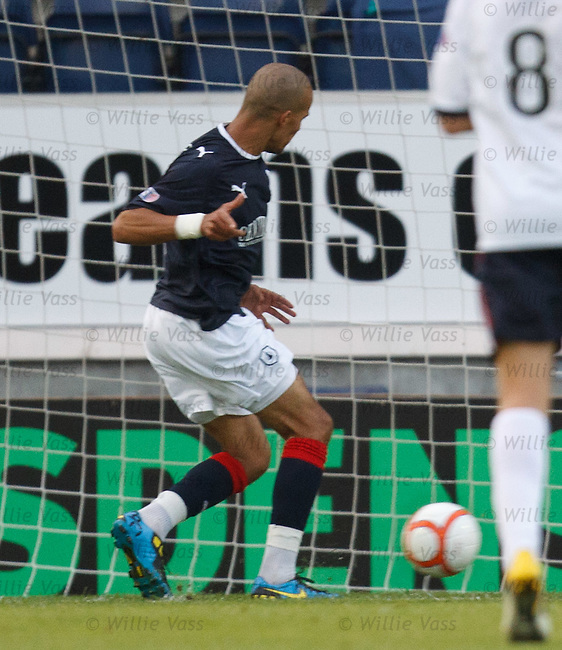 Falkirk striker Farid El Allagui turns in the ball to score for the home team