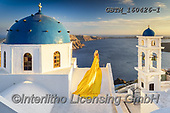 Tom Mackie, LANDSCAPES, LANDSCHAFTEN, PAISAJES, photos,+Woman in Long Yellow Dress & Church, Santorini, Cyclades, Greece,Aegean, Cyclades, EU, Europa, Europe, European, Firostefani,+Greece, Greek Islands, Mediterranean, Santorini, Tom Mackie, blue, building, buildings, caldera, church, churches, coast, co+astal, coastline, coastlines, dome, domes, gold, golden, holiday destination, horizontal, horizontals, landscape, landscapes,+person, sea, tourism, tourist attraction, white, white washed, woman, yellow+,GBTM160426-1,#l#, EVERYDAY