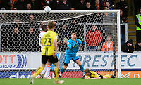 Burton Albion's Jamie Allen scores his side's second goal as the ball goes past Blackpool's Michael Nottingham<br /> <br /> Photographer Chris Vaughan/CameraSport<br /> <br /> The EFL Sky Bet League One - Burton Albion v Blackpool - Saturday 16th March 2019 - Pirelli Stadium - Burton upon Trent<br /> <br /> World Copyright &copy; 2019 CameraSport. All rights reserved. 43 Linden Ave. Countesthorpe. Leicester. England. LE8 5PG - Tel: +44 (0) 116 277 4147 - admin@camerasport.com - www.camerasport.com