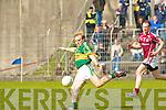 Kerry's Darren O'Sullivan and Galway's Damien Burke.