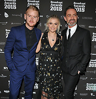 Mikey North, Lucy Fallon and Daniel Brocklebank at the Broadcast Awards 2018, Grosvenor House Hotel, Park Lane, London, England, UK, on Wednesday 07 February 2018.<br /> <br /> CAP/CAN<br /> &copy;CAN/Capital Pictures