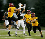 SIOUX FALLS, SD - SEPTEMBER 8: Austin Vickers #81 from the University of Sioux Falls hauls in a pass among a trio of defenders including Brian Sumption #38, 	Preston Droessler #24 and  Brady Thielges #31 from Northern State in the first half of their game Saturday night at Bob Young Field in Sioux Falls. (Photo by Dave Eggen/Inertia)