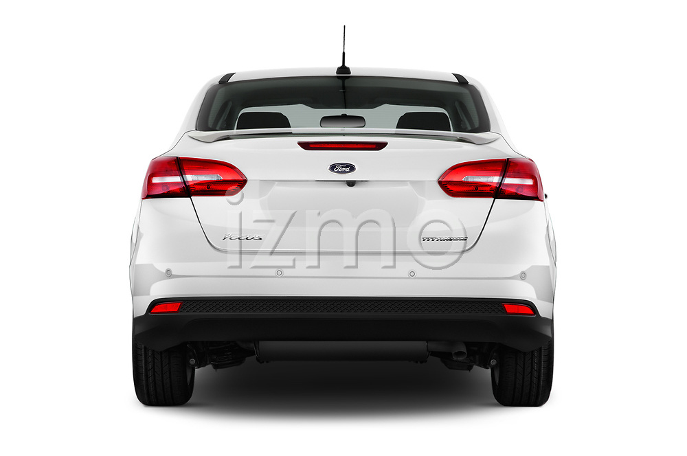 Straight rear view of 2017 Ford Focus Titanium 4 Door Sedan Rear View  stock images