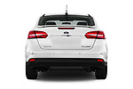 Straight rear view of 2015 Ford Focus Titanium 4 Door Sedan Rear View  stock images