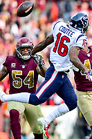 Landover, MD - November 18, 2018: Washington Redskins inside linebacker Mason Foster (54) intercepts a tipped pass intended for Houston Texans wide receiver Keke Coutee (16) during first half action of game between the Houston Texans and the Washington Redskins at FedEx Field in Landover, MD. (Photo by Phillip Peters/Media Images International)