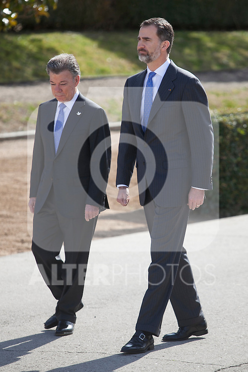 Spanish Royals King Felipe VI of Spain during the Colombia´s President Juan Manuel Santos welcome ceremony at the Pardo Palace in Madrid, Spain. March 01, 2015. (ALTERPHOTOS/Victor Blanco)