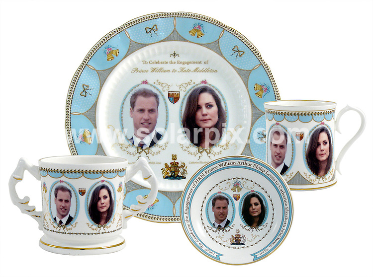 **ALL ROUND PICTURES FROM SOLARPIX.COM**                                             **NO UK NEWSPAPER PUBLICATION**.**UK MAGAZINE & SUPPLEMENT PUBLICATION ONLY**                                                                                 Caption: .Prince Willaim & kate Middleton officaily announce thier engagement to get married in 2011..The couple have been dating for 8 years and William proposed whilst they were on a private holiday in Kenya in october this year.The wedding is thought to be in London next summer                                                                              ..This pic:  Kate Middleton memorabilia  is now available online including these thimbles mugs & dinner plates which are currently on sale on ebay...            JOB REF:12486        SFE       DATE: 16.11.2010                                                           **MUST CREDIT SOLARPIX.COM OR DOUBLE FEE WILL BE CHARGED**                                                                      **MUST AGREE FEE BEFORE ONLINE USAGE**                               **CALL US ON: +34 952 811 768 or LOW RATE FROM UK 0844 617 7637**