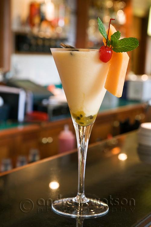 Tropical cocktail at Cocos Restaurant at Sebel Hotel.  Cairns, Queensland, Australia